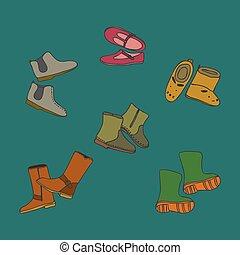 セット, 靴, 色, -, イラスト, 手, ベクトル, 引かれる