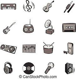 セット, 音楽, 漫画, アイコン