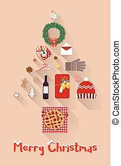 セット, 項目, 年, 新しい, 休日, クリスマス