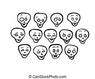 セット, 頭, 頭骨, ベクトル, 様々, emotions.