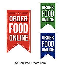 セット, 食物, デザイン, オンラインで, 旗, 順序