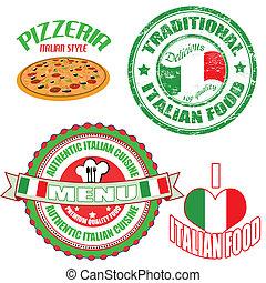 セット, 食物, ラベル, 切手, 正しい, イタリア語