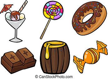 セット, 食物, 甘い, イラスト, オブジェクト, 漫画
