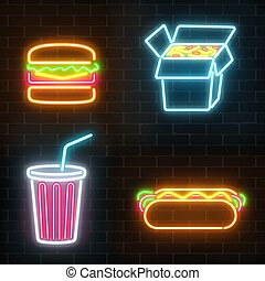 セット, 食物, ona, ネオン, 速い, 暗い, バックグラウンド。, サイン, れんがの壁