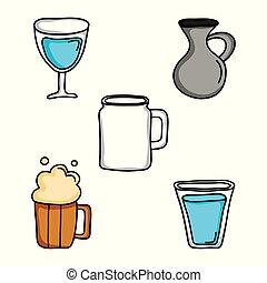 セット, 飲み物, 隔離された, 飲料, アイコン