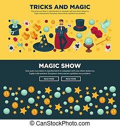 セット, 魔法 ショー, トリック, 昇進, インターネット, ポスター