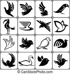 セット, 鳥, アイコン