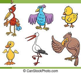 セット, 鳥, イラスト, 漫画