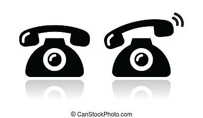 セット, 鳴り響く, アイコン, -, 電話, 連絡