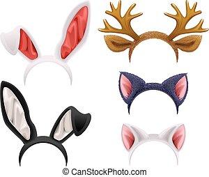 セット, 鹿, ねこ, マスク, 枝角, うさぎ, 耳