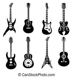 セット, 黒, ギター, アイコン