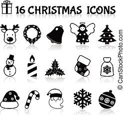 セット, 黒, クリスマス, アイコン