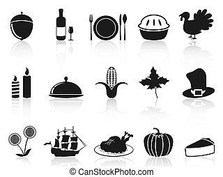 セット, 黒, 感謝祭, アイコン