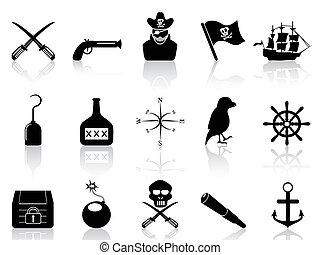 セット, 黒, 海賊, アイコン