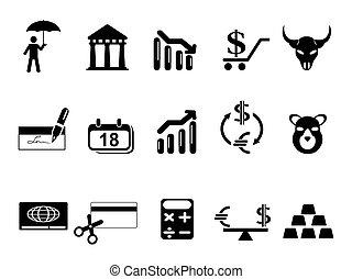セット, 黒, 金融, 銀行, アイコン