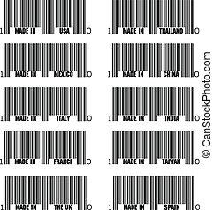 セット, 黒, barcode, 作られた