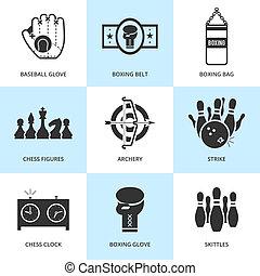 セット, 黒, icons., スポーツ