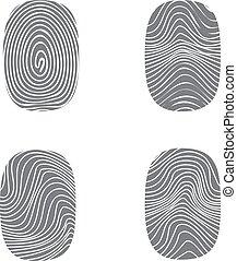 セット, 黒, silhoue, 指紋