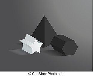 セット, 3, イラスト, heometric, プリズム, ベクトル