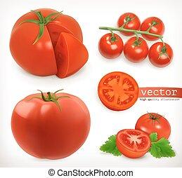 セット, 3d, ベクトル, 野菜, tomato., アイコン