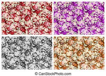 セット, 4, の, 赤, 紫色, 灰色, そして, ブラウン, バラ, 生地, 背景, fragm
