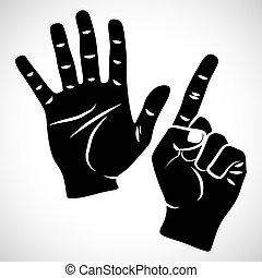 セット, 6, アイコン, 手