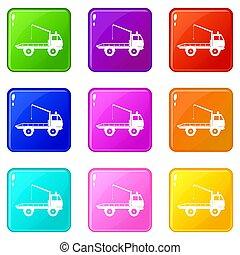 セット, 9, towing, 自動車, アイコン, トラック