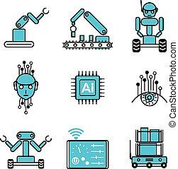 セット, ai, システム, イラスト, ロボット, ベクトル, デザイン, 自動化された, アイコン