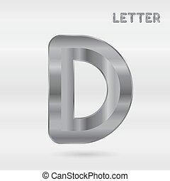 セット, alphabet., ステンレス食器, letters., 金属, 3d