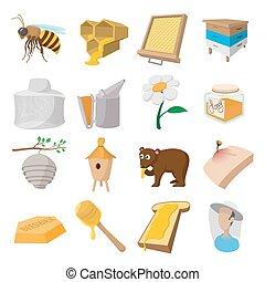 セット, apiary, 漫画, アイコン