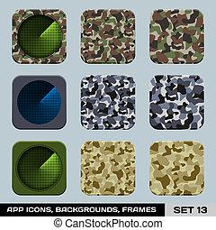 セット, app, ゲーム, 戦争, フレーム, ベクトル, 背景, 14., 軍, アイコン, style., templates.
