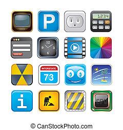 セット, apps, 3, アイコン