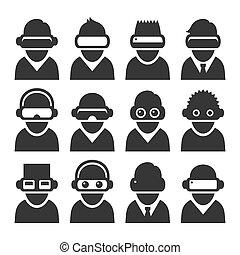 セット, avatars, バーチャルリアリティ, vr, ベクトル, headset.