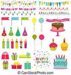 セット, -, birthday, ベクトル, デザイン, パーティー, スクラップブック, 幸せ
