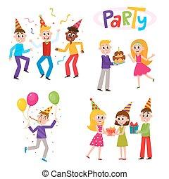 セット, birthday, 楽しみ, パーティー, 友人, 持つこと