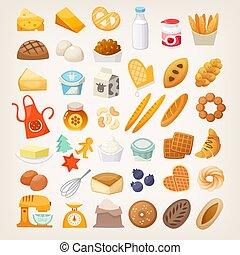 セット, bread., 原料, 料理, icons., パン屋