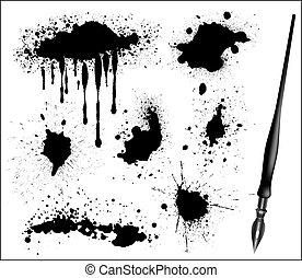 セット, calligraphic, ペン, 黒いインク, splat