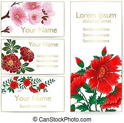 セット, card., フレーム, 招待, text., 優雅である, ベクトル, 背景, 結婚式, 花, カード