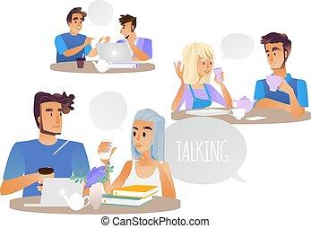 セット, characters., 人々, イラスト, 話し, ベクトル, 女性, マレ, 論じる, 漫画