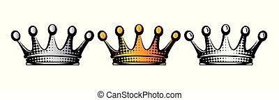 セット, clipart, 隔離された, イラスト, crowns., ベクトル
