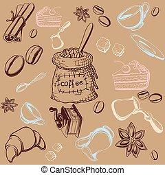 セット, coffe, 背景