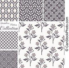 セット, collection., seamless, パターン, ベクトル, backgrounds., 花