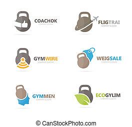 セット, combination., 重量, ジム, シンボル, logotype, バーベル, スポーツ, デザイン, フィットネス, template., ロゴ, icon., 独特, ∥あるいは∥
