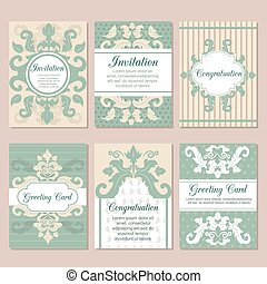セット, concept., 招待, 装飾, ベクトル, デザイン, フライヤ, 結婚式, ページ, カード