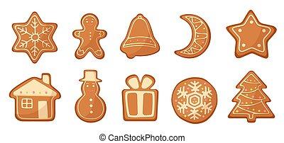 セット, cookies., クリスマス, ベクトル, gingerbread, 漫画