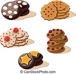 セット, cookies., icons., ベクトル, 味が良い, 漫画