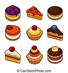 セット, cupcakes, アイコン