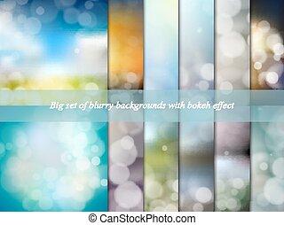 セット, effect., 大きい, 抽象的, 背景, イラスト, bokeh, ベクトル, blurry
