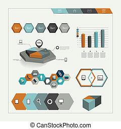セット, elemen, 六角形, infographic