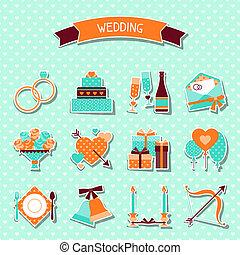 セット, elements., アイコン, デザイン, レトロ, 結婚式